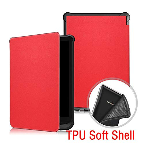 Smalle lederen tas voor Pocketbook Touch lux 4 627 HD3 632 Basic2 616 Ereader shell Rood