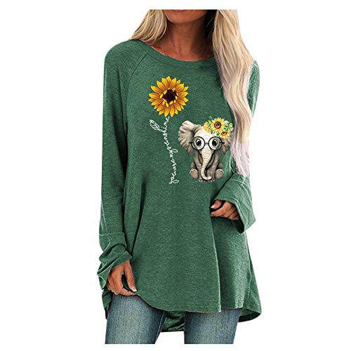 BUKINIE Womens Oversize T Shirts Sunflower Printed Graphic Loose Tees Casual Round Neck Long Sleeve Tunic Tops Blouse Pullover Sweatshirt Green