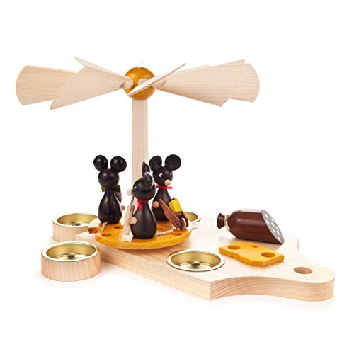 DREGENO Seiffen Pyramide Frühstücksbrett mit Mäusen, Holz, Antur, 4 x 27 x 17 cm
