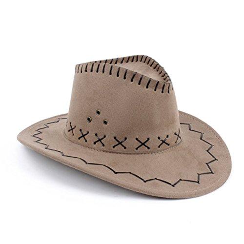 NYKKOLA Accessori per costume da cowboy, Cappello unisex da cowboy in pelle scamosciata