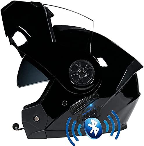 Motorbike Helmet Casco de Motocicleta Bluetooth de Cara Completa, ECE/Dot Four Seasons Intercomunicador Incorporado Casco de Motocicleta Impermeable Cascos modulares con visores Dobles YSDKJ73(Color