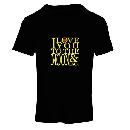 lepni.me Camiseta Mujer Te Quiero a la Luna y de Vuelta, Impresionante Regalo de Amor de San Valentín (Medium Negro Amarillo)