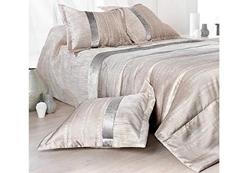 Linder Colcha y funda de almohada, Beige/Gris, 230 x 250 cm