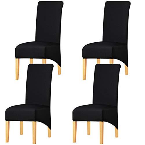 KELUINA Estiramiento sólido con respaldo alto Cubiertas de silla XL para comedor, fundas de silla de comedor grandes de Spandex para la vida en el hogar Restaurante Hotel (4 PACK,Negro)
