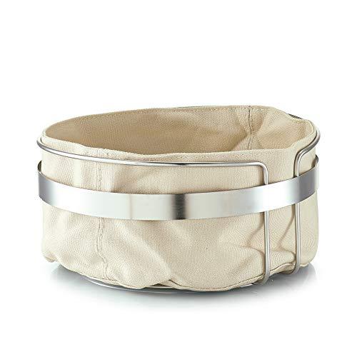 Zeller 27248 Brotkorb mit Beutel, Metall/Baumwolle, beige, 22 x 22 x 10,8 cm