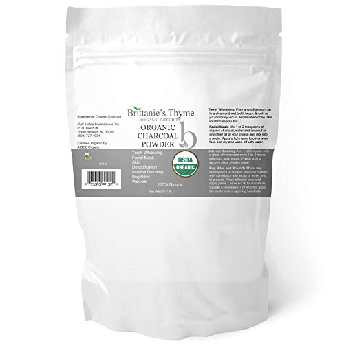 Brittanies Thyme Organic Activated Charcoal Powder, 1 lb - USDA Certified Organic. Food Grade Powder, Non-GMO, Vegan, No Fillers 100% Pure Use for teeth Whitening Facial Masks Detoxing