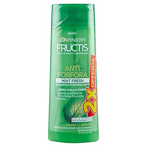 Garnier Fructis MINT Fresh Anti-Schuppen-Shampoo mit Salicylsäure und Minzblättern, ohne Parabene, Packung à 2 x 250 ml, (die Packung kann variieren)