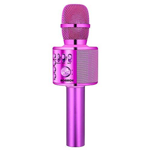 BONAOK Drahtloses Bluetooth-Karaoke-Mikrofon, tragbares 3-in-1-Karaoke-Handmikrofon Geburtstagsgeschenk Home-Party-Lautsprecher für iPhone/Android/iPad/Sony, PC-Smartphone (Lila)