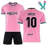 LISI Conjunto Camiseta y Pantalón FC Barcelona, 20-21 Rosa Camiseta de Futbol para Niños y Adulto Unisex Fans Replica - 100% Poliéster,C,20