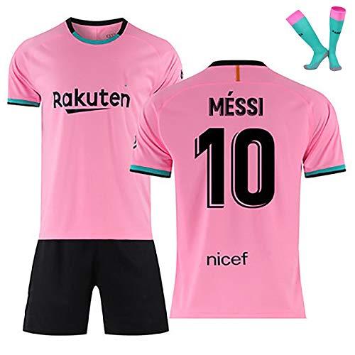 LISI Conjunto Camiseta y Pantalón FC Barcelona, 20-21 Rosa Camiseta de Futbol para Niños y Adulto Unisex Fans Replica - 100% Poliéster,C,L