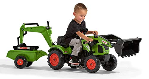 Falk 2040N Claas Pedal Tractopel with Excavator and Trailer for Ages 2 and Above - Made in France - Articulated Front and Excavator - Steering Wheel with Horn