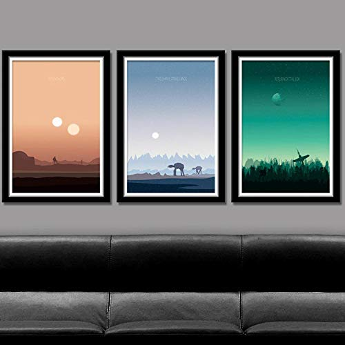 XIXISA Carteles e Impresiones inspirados en Star Wars Sunset Landscape Minimalist Canvas Painting Movie Wall Pictures for Living Room Home Decor 50x70cm Sin Marco