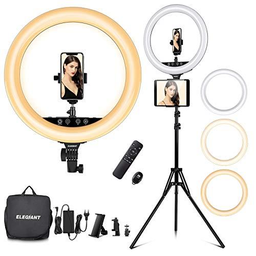 ELEGIANT 18  Aro de Luz Trípode LED, Anillo de Luz 55W Regulable 2800-6000K con Soporte 2m para Tableta Móvil con Control Remoto Bluetooth y Bolsa de Viaje para Tiktok Maquillaje Selfie Vlog Youtube