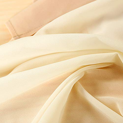 SHERWAY 3 Panels Chiffon Fabric Drapery Wedding Arch Drapes, Party Backdrop Curtain Panels, Ceremony Reception Swag Decoration (27 x 216 Inch, Ivory & White & Nude)