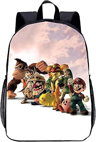 Super Mario Mochila escolar Super Mario para niños, Super Fit, ligera y moderna, regalo para niños con gran capacidad (Anime6,16 pulgadas (primaria) 27)