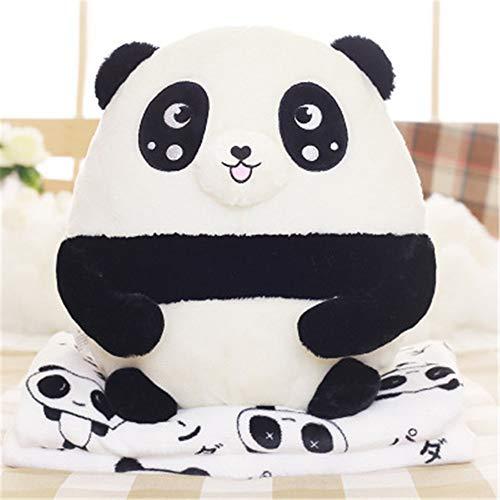 Manta de viaje y almohada Original Amortiguador lindo Panda Dada la almohada por la Oficina de la cintura grande franela manta Tamaño 40x40cm Equipaje de mano ( Color : A , Size : 40x40cm )