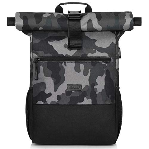 Rucksack Herren,Schulrucksack Jungen Teenager,Rolltop Rucksack mit USB-Ladeanschluss für Reisen Camping Schule Arbeit (BlackCamouflage)