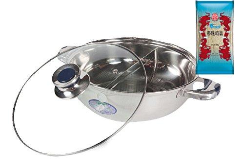 yoaxia ® - [ Ø 28cm ] HOT POT Topf mit 2 Kammern / Feuertopf / Fondue / Shabu Shabu + 1x [ 100g ] DIAMOND BRAND Longkou Vermicelli / Glasnudeln gratis