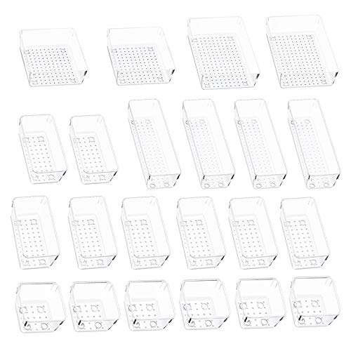 SMARTAKE 22-Piece Drawer Organizer with Non-Slip Silicone Pads, 5-Size Clear Desk Drawer Organizer Trays Storage Tray for Makeup, Jewelries, Utensils in Bedroom Dresser, Office and Kitchen