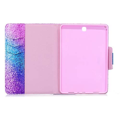 XTstore Samsung Galaxy Tab A 9.7 Hülle SM-T550N/T555N, Bling Glitzer Leder Tasche Flip Case Schutzhülle Schale Etui mit Standfunktion für Samsung Galaxy Tab A 9,7 Zoll Tablet, Regenbogen