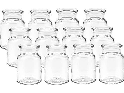 12 Stück Runde Mini Vasen Glasfläschchen kleine Dekoflaschen Flasche Väschen Vase Glasflaschen Blumenvase (12 Stück)