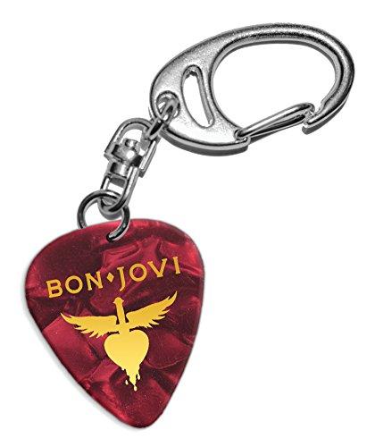 Bon Jovi Gitarre Plektrum Keyring Schlüsselanhänger Red Pearl (GHF)
