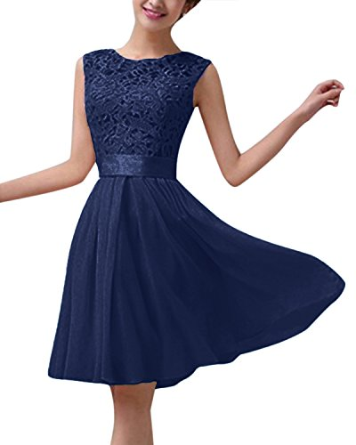 ZANZEA Damen Spitze Ärmellos Party Club Kurz Slim Abend Brautkleid Cocktail Ballkleid Marine EU 40/US 8