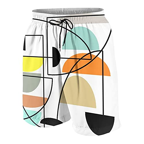 LUDOAN Troncos de baño para Hombre,tazones Modernos de Mediados de Siglo,Ropa de Playa Trajes de baño Shorts de baño Trajes de baño XL