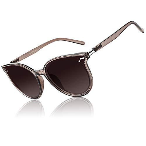 CGID Designer Oversized Runde Polarisierte Sonnenbrille für Frauen Retro Damen Sonnenbrille 100 % UV400 Brille Transparente Braune Gestell Braun Farbverlauf Gläser M60