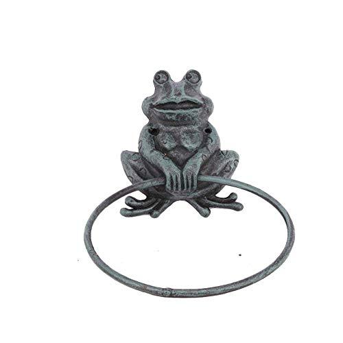 TentHome Antik Handtuchhalter Handtuchring Metall Wandhalterung Tier Deko Küche Bad Zubehör Badezimmer Accessoires (Frosch)