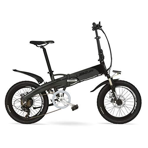 G660 20'' Folding Electric Bike Built-in 48V Lithium Battery, Aluminum Alloy Rim & Frame, Disc Brakes, Quick Release (Grey A, 10.4Ah LED)