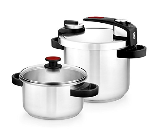 BRA Tekna - Set de ollas a presión rápida, 4 y 7 litros de fácil uso, acero inoxidable 18/10, incluye tapa cristal, apta para todo tipo de cocinas, incluido inducción