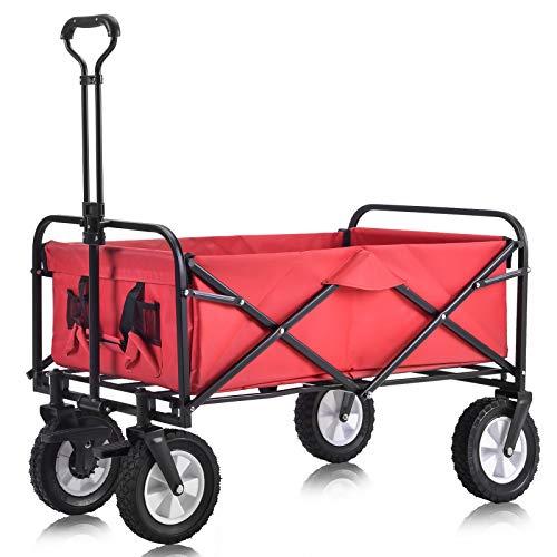 Zusammenklappbarer Bollerwagen Draußen Alles Terrain Handwagen mit breiten Bremsrädern, Mesh-Getränkehaltern, verstellbarem Griff, Stofftasche,Rot (rot)