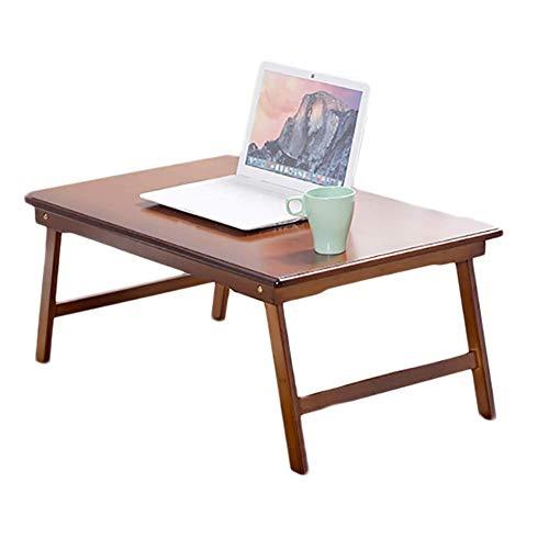 HJCA klaptafel/klaptafel voor laptop, opvouwbaar, klein, bamboe, bruin (afmetingen: 60 x 39 x 27 cm)