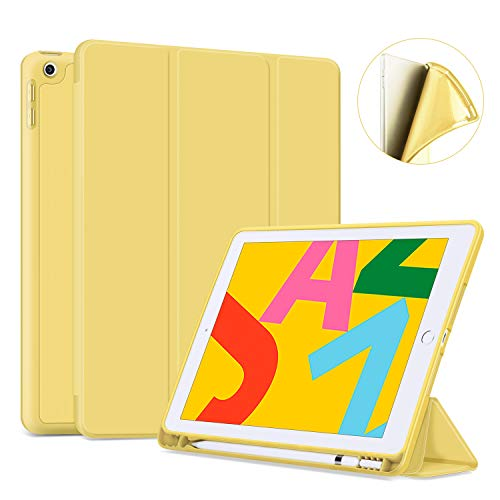 "Ayotu Soft Case for New iPad 7th Generation 10.2"" 2019, Auto Sleep/Wake Slim Lightweight Trifold Stand Case with Pencil Holder,Soft TPU Back Cover for Apple iPad 10.2 & iPad Air 3rd 10.5 inch,Yellow"