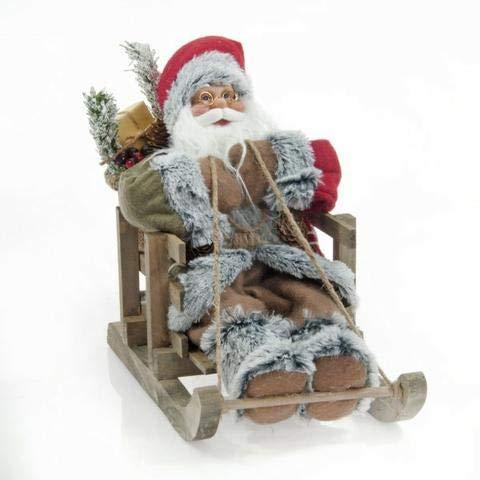 GESCO Babbo Natale Country 30 CM Seduto su Slitta