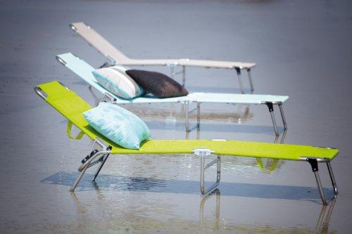 Fiam Jan Kurtz 471189 Amigo Chaise longue pliante / Transat / Bain de soleil - Lime / Citron vert