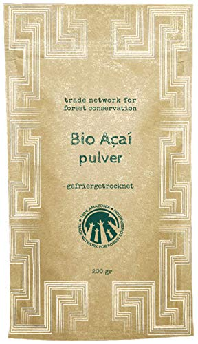 100% Amazonia Reines Acai Pulver Bio | Frisches Extrakt aus der Acai Beeren (Rohkost) | Gefriergetrocknet | Gefördert durch das Aryamuru Project | Kompostierbare Verpackungen (200 gr)