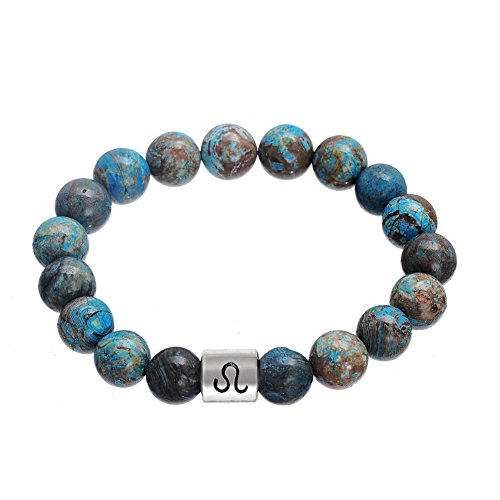 Lemegeton Handmade Natural Stone 12 Zodiac Leo Bracelet Punk Astrology Horoscopes 10 mm Beads Bracelet for Men