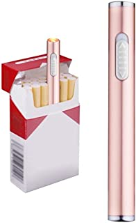 Usb Mini Lighters Electronic Rechargeable Windproof Flameless Cigarette Plasma Lighter (Rose Gold)
