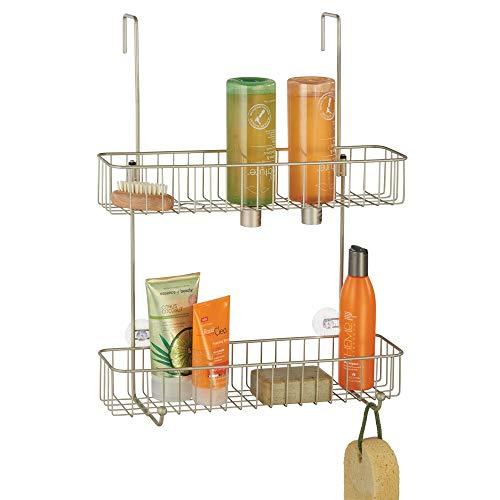 mDesign Duschablage aus rostbeständigem Metall – einfache Montage an der Duschtür – Duschregal mit 2 Ebenen – Duschzubehör ohne Bohren – mattsilberfarben