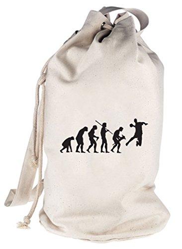 Shirtstreet24, EVOLUTION HANDBALL, EM WM bedruckter Seesack Umhängetasche Schultertasche Beutel Bag, Größe: onesize,natur