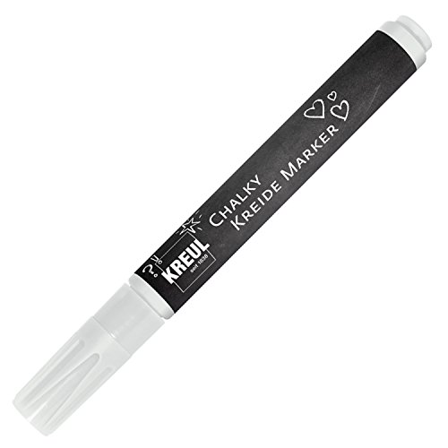 Kreul 22711 - Chalky Kreidemarker Medium, matte, non - permanente Flüssigkreide, zum Zeichnen auf Tafeln, Memoboards oder Glasoberflächen, mit formstabiler Rundspitze ca. 2 - 3 mm, Snow White