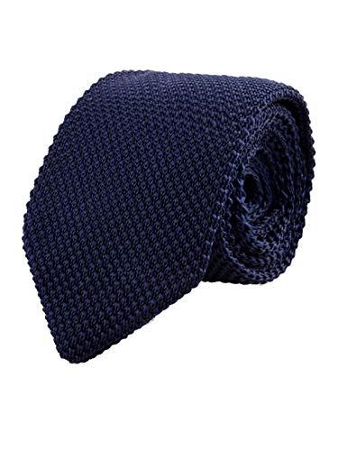 WANYING Herren 7cm Schmale Strickkrawatte Gestrickte Narrow Krawatte Retro Sporty Casual Büro Basic für Gentleman - Einfarbig Dunkelblau
