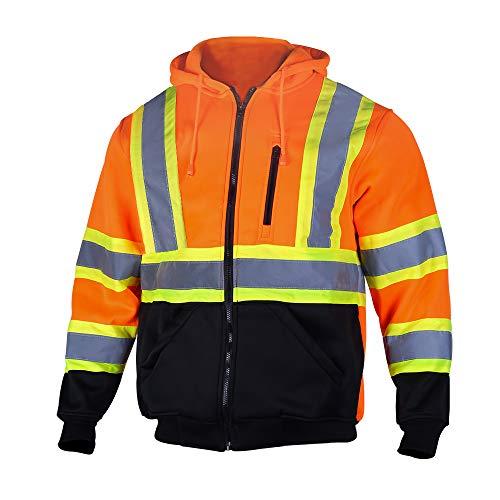 VENDACE Men's ANSI Class 3 High Vis Safety Reflective Sweatshirt Wool Fleece Zipper Jacket Hoodie with Black Bottom(Orange,3XL)