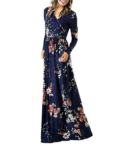 Auxo Damen Abendkleider Lange Blumen Kleid Langarm Maxikleider Cocktail Ballkleid Elegant Blau X-Large