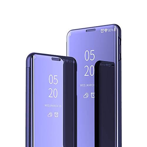 JZ [Design espelhado][Suporte] Capa compatível com Samsung Galaxy J6 Plus/J6+/J6 P Rime Smart Mirror Wallet Flip Cover - Roxo