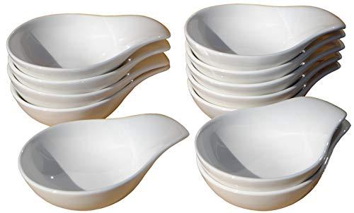Cucharas para salsa y canapé, condimentos, con platos de cerámica, 12 piezas.