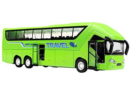 YIJIAOYUN 21cm aleación Diecast vehículos de Juguete Molde con Luces y música / 1:50 Escala Pull-Back Motor Coach Autobús