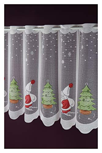 Scheibengardine nach Maß Tannenbaum Weihnachtsmann Jacquard Lamellenpanneau Weihnachten Christmas Winterzeit -individuell in der Breite kürzbar- Höhe 50 cm - Breite 13,5 cm Schritten wählbar Weiß Bunt